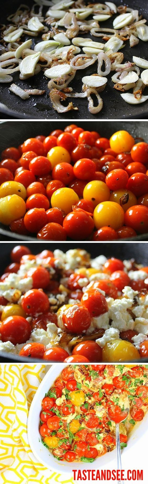 Sweet Cherry Tomatoes with French Feta: Salty, tomato-sweet, cheesy, creamy goodness ready in only 15 minutes!  The perfect side or appetizer with French feta, shallots, garlic, and cherry tomatoes. #tomatoes http://tasteandsee.com