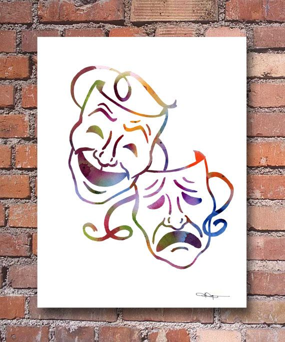 Comedy Tragedy Masks - Abstract Watercolor Art Print - Wall Decor