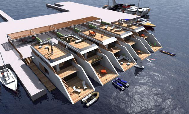 Recreación virtual de las viviendas flotantes del grupo Boxx. Looks like a project destined for Palma de Mallorca. Not sure if it was ever built.