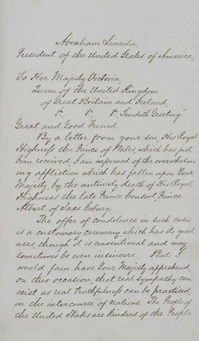 Letter from Abraham Lincoln to Queen Victoria on the Death of Prince Albert (page one) (1862)