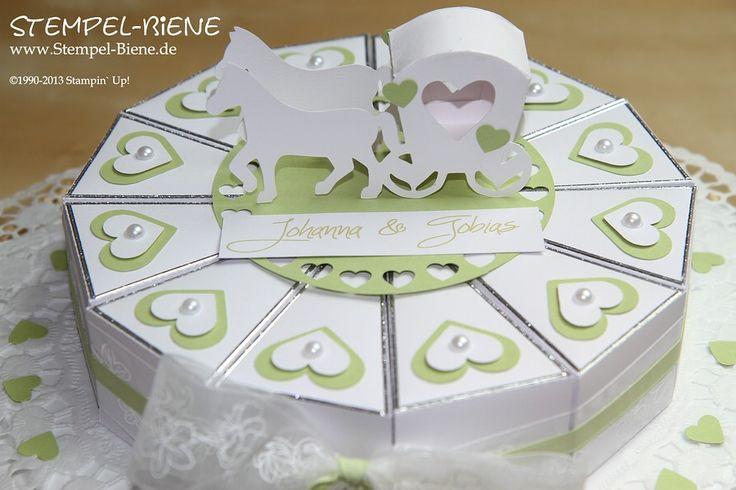 Anleitung Hochzeitstorte basteln, Anleitung Geldgeschenk zur Hochzeit, Hochzeit, stempel-biene, Stampin' Up