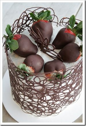 Chocolate Cage Tutorial...White Cake and Choc Strawberries...awesome tutorial step by step with cake recipe..what I love is that she changes up for the various holidays with colored chocolate and different fruits.