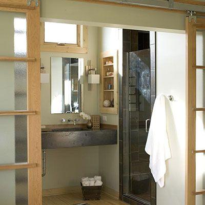 17 best images about bath barn doors on pinterest master for Master bathroom pocket door