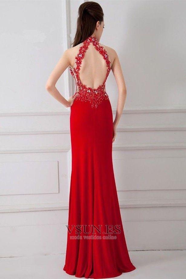 f7b7518eb6 Vestido de noche primavera Corte Sirena Sin mangas Elegante Falta Espalda  medio descubierto