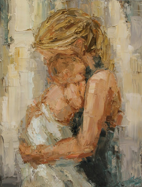 """Kathryn Morris Trotter: """"whitney"""" mother and baby painting, impasto style painting, baby painting, children's art,"""