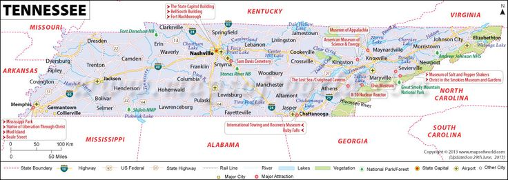 Tennessee map showing the major travel attractions for Small towns in tennessee near knoxville