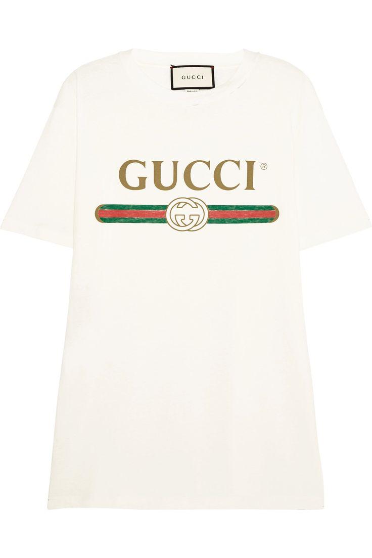 Gucci | T-shirt en jersey de coton imprimé effet vieilli à appliqué | NET-A-PORTER.COM
