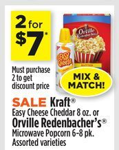 Kraft® Easy Cheese Cheddar 8 oz. or Orville Redenbacher's® Microwave Popcorn 6-8 pk. from Dollar General $7.00