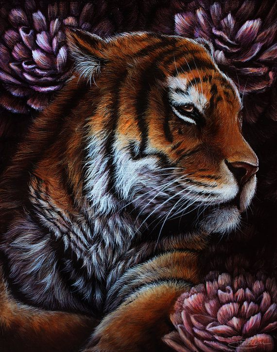 Original - Tiger Painting with Peonies Acrylic Artwork by Danielle Trudeau  $325.00 USD