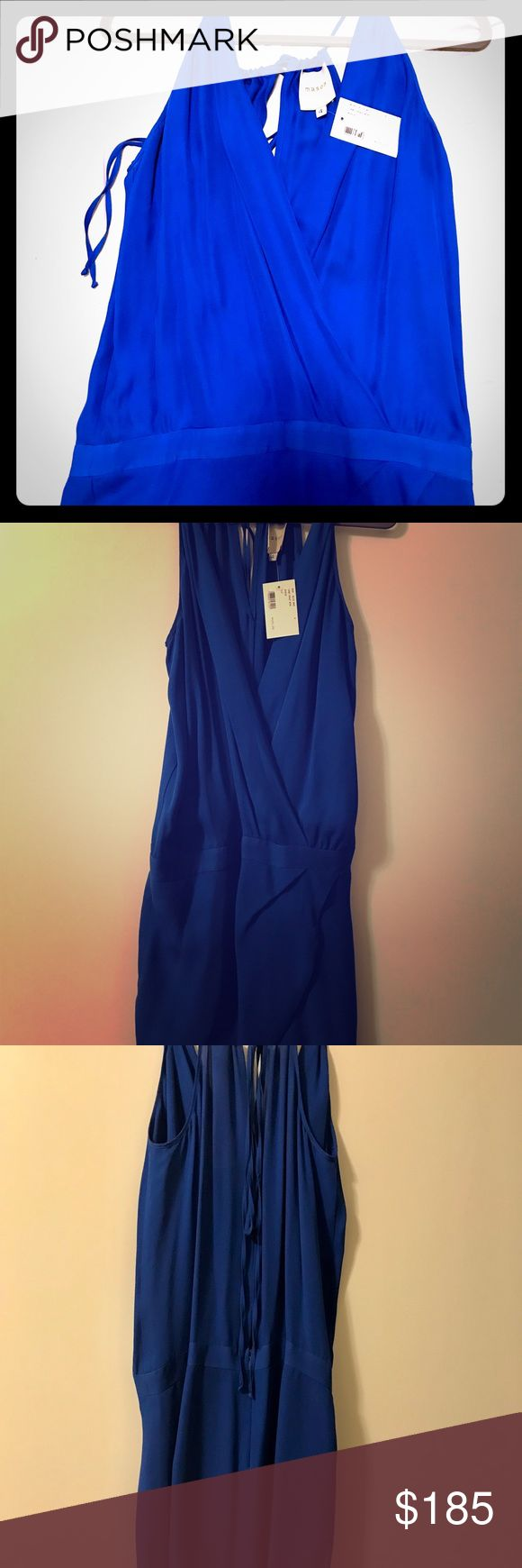 """Michelle Mason Cami Wrap Silk Mini Dress brand new Michelle Mason """"cami wrap"""" dress in cobalt blue. Great for a night out! Silk shell and lining. Halter top with open back, loose fit around bust and tighter around hips. Sold out online. Mason Dresses Mini"""