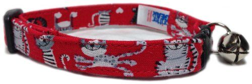 Breakaway Cat Collar in Red Mini Cats USA Made -- Click image for more details.