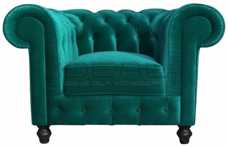fotel Chesterfield, styl angielsk,i armchair, głęboko pikowany, plusz, velvet, zielony, green, niebieski, turkusowy, emerald, blue, turquise    fotel_chesterfield_lady_rem_IMG_3798i (1).jpg (925×600)