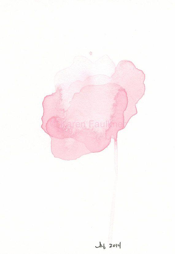 Art, Painting, Original Watercolor Painting: Pale Pink ...