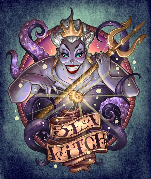"""SEA WITCH Art Print by artist Tim Shumate.  Great version of """"The Little Mermaid"""" Ursula... I have this Tee from Tee Fury!"""