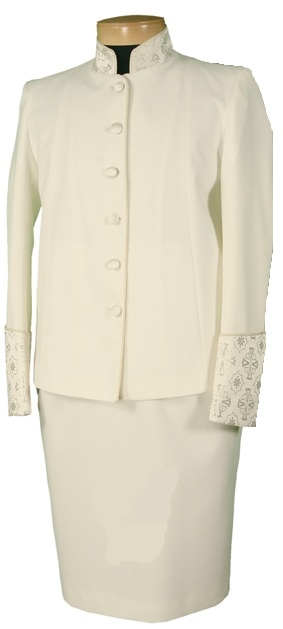 Women's 2 piece clergy suit, in creme.  See fabric on the wrists and collars.