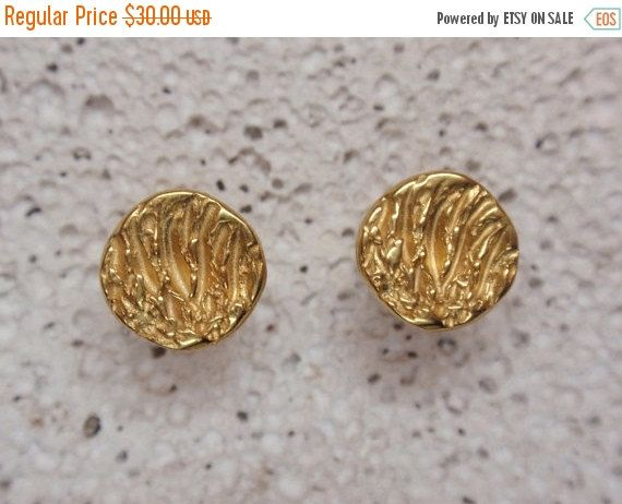 SALE 10% OFF gold circle earrings disc stud 24k gold by preciousjd