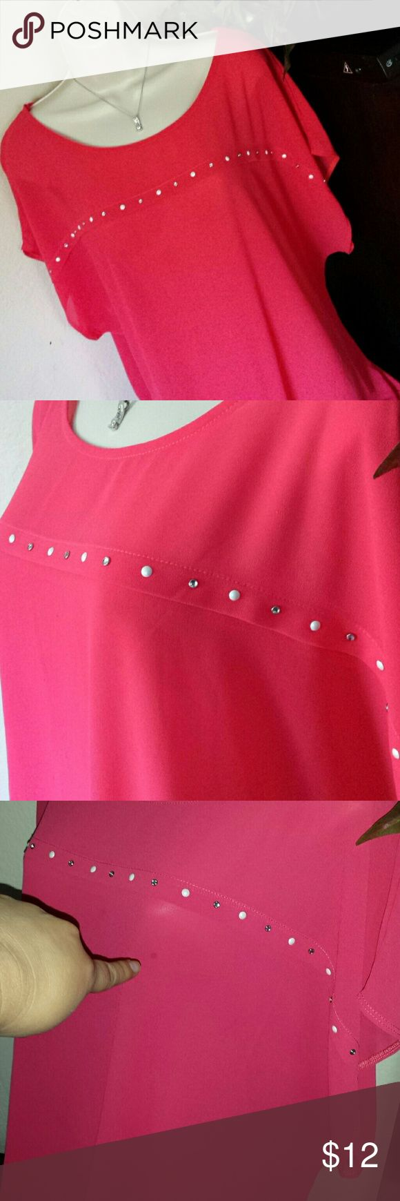 Beautiful Hot Pink Shirt!! Minor defect on one side of the shirt had a small grease stain.  I provided 2nd picture without flash and strain is not visible.  3rd picture i took with flash pointing at stain and there you can see the stain.   Price reduced.  Feel free to make offers! Banabee Tops