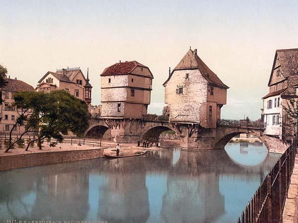 Bridge houses in Bad Kreuznach, Germany.  During the middle ages, towns had walls built around them for protection.  With space at a premium, more and more innovative ways to utilize space were enacted.  Building homes on bridges was one of the adaptations, as seen here.
