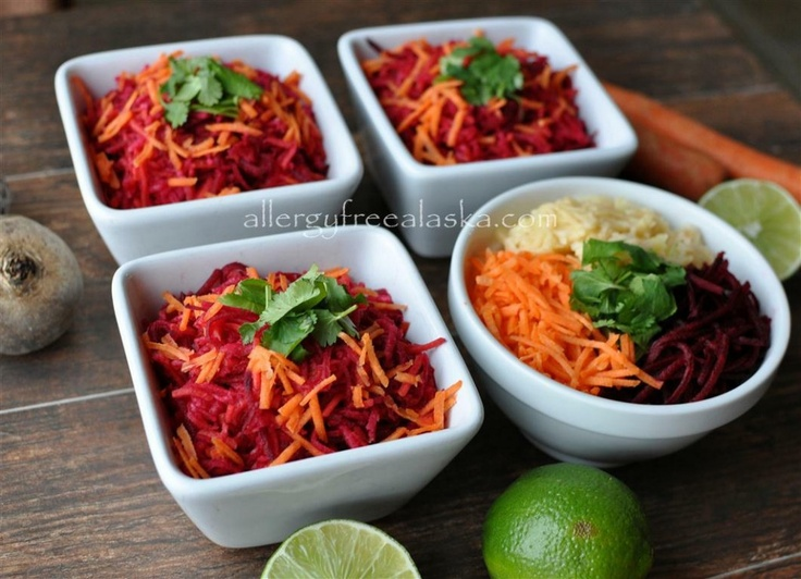 Raw Beet, Carrot & Apple Salad with Ginger Lime Dressing from Megan @ Allergy Free Alaska