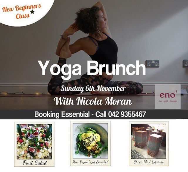 Don't miss our next yoga brunch here at eno' which takes place this Sunday Nov 6th.  We have yoga for all levels at 10am & for beginners at 11.30 with Nicola Moran ( Jiva Yoga with Nicola Moran) followed by sit down delicious raw vegan brunch in our restaurant.  Spaces are limited to 16 per class and pre-booking is essential. Don't miss out! BOOK NOW! Call 042 9355467 ☎️ | www.eno.ie