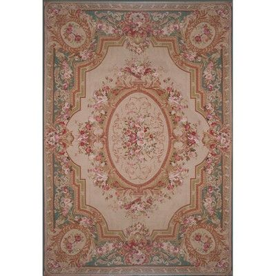 American Home Rug Co. Grandeur Needlepoint Aubusson Hand Woven Wool Beige/Teal Area Rug Rug Size: Round 5'