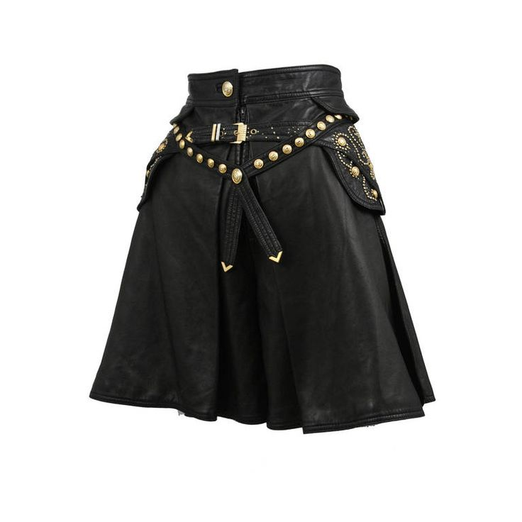 Leather Embellished Versace Shorts | From a collection of rare vintage shorts at https://www.1stdibs.com/fashion/clothing/shorts/