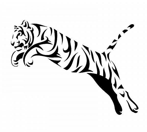 Beautiful P Wandtattoo Tiger springt x cm Wandbild schwarz Deko Wohnzimmer XXL in Business