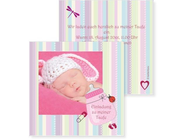 Schoppen Einfachkarte 2-seitig 145x145mm violett / flieder, Babykarte, Geburtskarte, Taufkarte, Taufe, Baby, Karten, karten4you, karten4you.ch