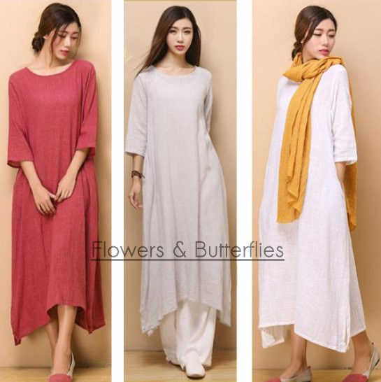 WORLDWIDE FREE SHIPPING Women Linen Dress 5 Colors Summer dress pure color Long Maxi dress natural dress boho dress woman dress light dress $39.99 USD Lagenlook Cotton Linen Dress Clothing Women Long Sleeve Dress