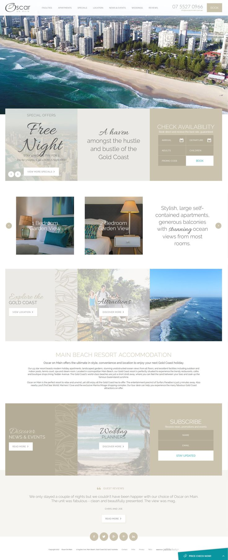 Beautiful new site live for Oscar on Main Beach Resort featuring our new price check widget and aerial video!  See more - http://pebbledesign.com/our-work Site - http://www.oscaronmain.com.au/ Price check - http://pebbledesign.com/video/pebble-price-check More video - http://pebbledesign.com/video-storytelling