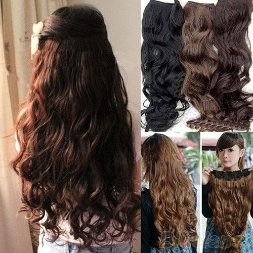 Hot Fashion Full Head Clip Curly/ Wavy Women Synthetic Hair Extension Extensions = 1645608388