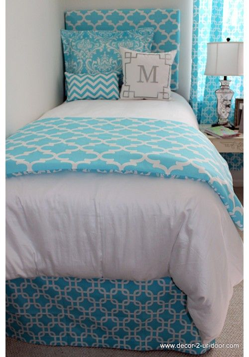 Bright Blue Designer Teen & Dorm Bed in a Bag | Teen Girl Dorm Room Bedding