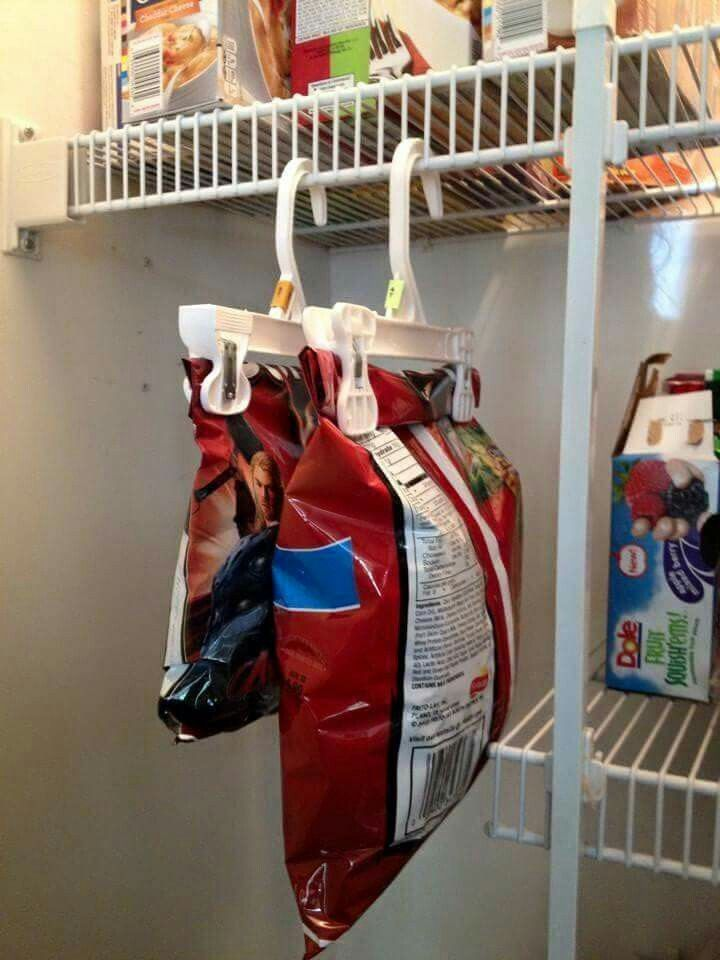 This is the ultimate double whammy: Those plastic skirt hangers will make sure your snacks don't go stale, and make extra storage space appear out of thin air.