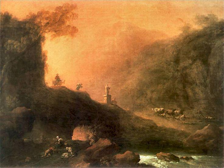 """Franciszek Ksawery Lampi(1782-1852), """"Krajobraz romantyczny"""". 1820-1830"""