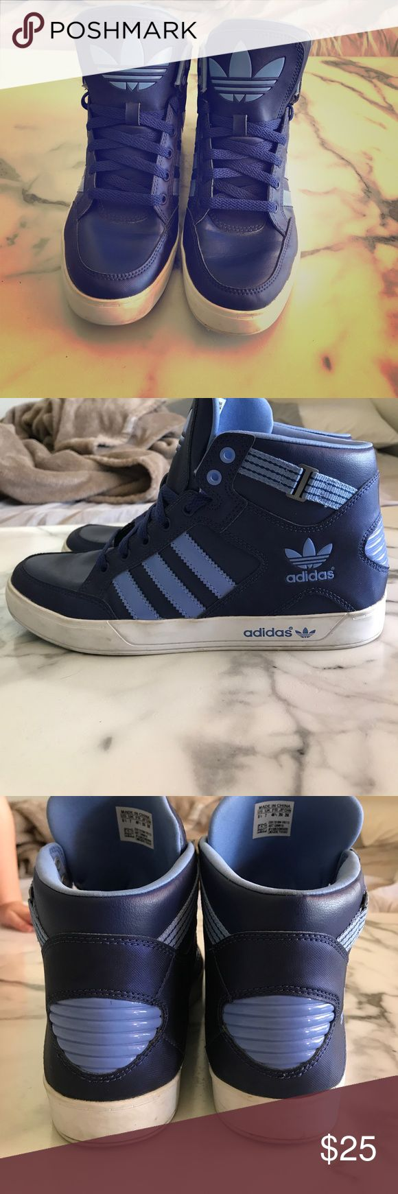 Women's adidas shoes 8.5 Women's adidas high tops color Navy blue with light blue. Size 8 1/2 very lightly worn. Made in China adidas Shoes Sneakers