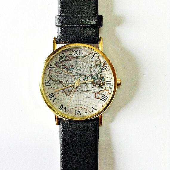 Map Watch, Vintage Style Leather Watch, Women Watches, Mens Watch, Boyfriend Watch, black Watch, World Map, on Etsy, $11.70 AUD  Want !
