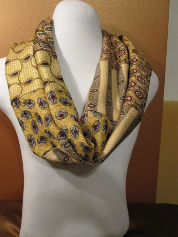 Recycled neck tie infinity scarf by JaderCouture