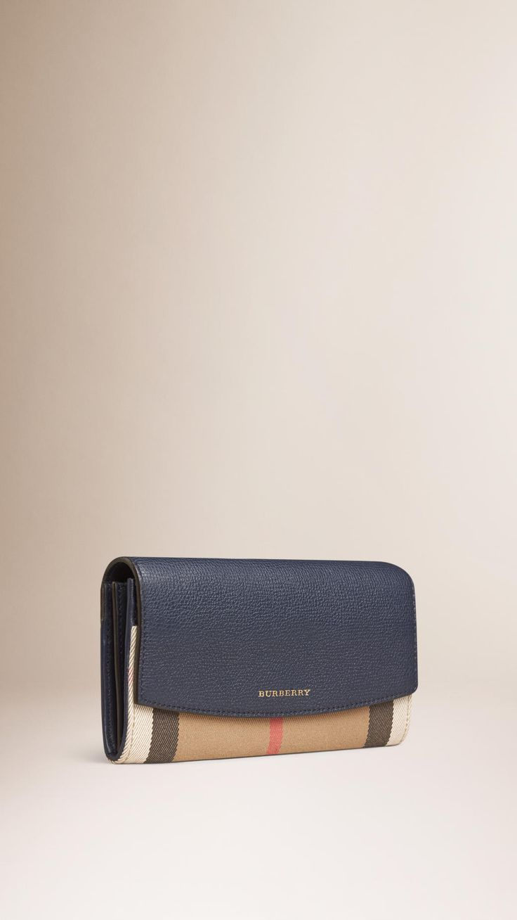 House Check and Leather Continental Wallet Ink Blue | Burberry