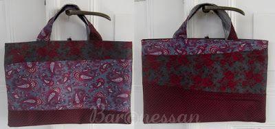Väska gjord av slipsar. Bag made from neck ties.