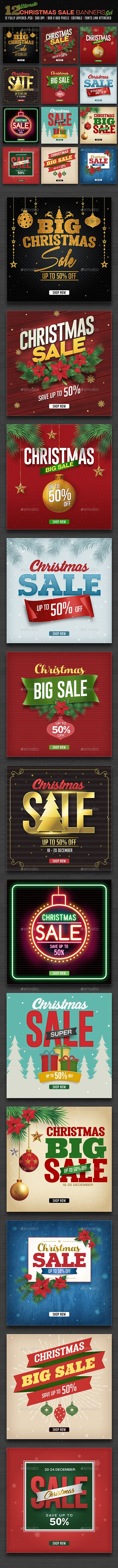12 Christmas Sale Banners Set - Templates PSD