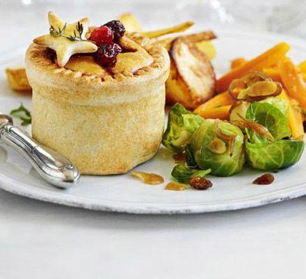Individual Vegetarian Christmas pies • leeks , mushrooms , lentils  , cranberries , chestnuts , herbs , potatoes
