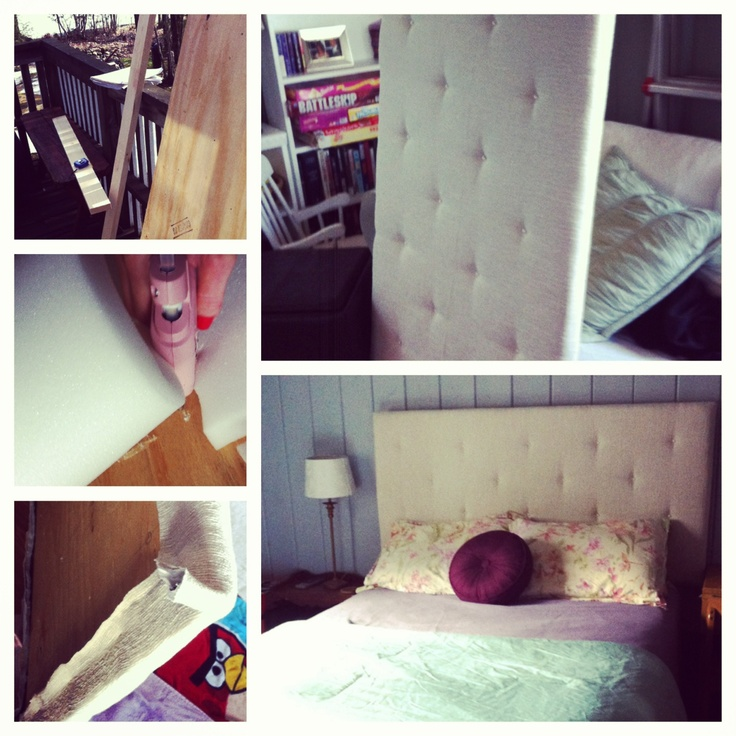 Upholstered headboard DIY I used pearl buttons salvaged