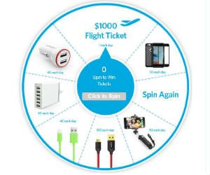 Win $1,000 Flight tickets, Chargers, Cables, Selfie Stick & More - http://freebiefresh.com/win-1000-flight-tickets-chargers-cables-selfie-stick-more/