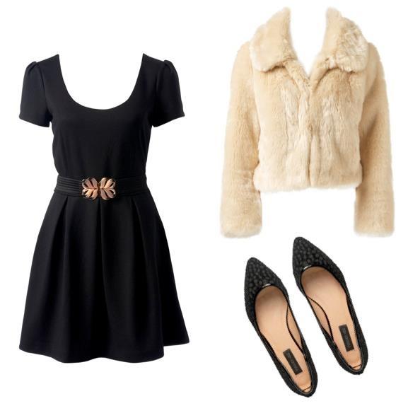 Küçük siyah elbise, siyah babetler ve krema rengi kürk... Bu hanım hanımcık ve şık kombinle nereye gitmeyi hayal ediyorsunuz?