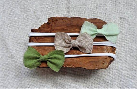 bows set headbands Nylon headband  MINT bow tan linen bow