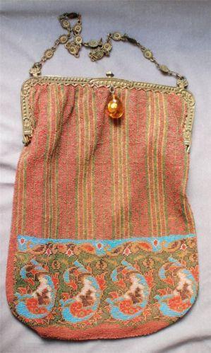 Antique Victorian Micro Bead Purse Bag | eBay