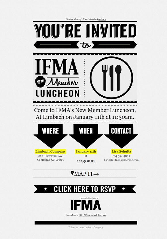 cool mailchimp templates - ifma invitation email design email inspiration