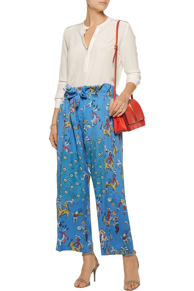 EtroCropped printed silk wide-leg pantsfront