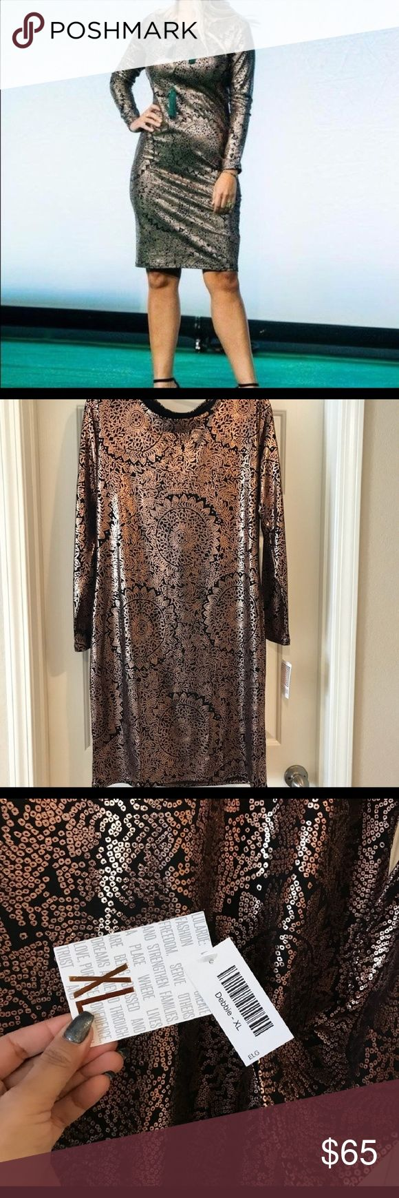 LLR elegant debbie Rose gold and black , nwt LuLaRoe Dresses Midi