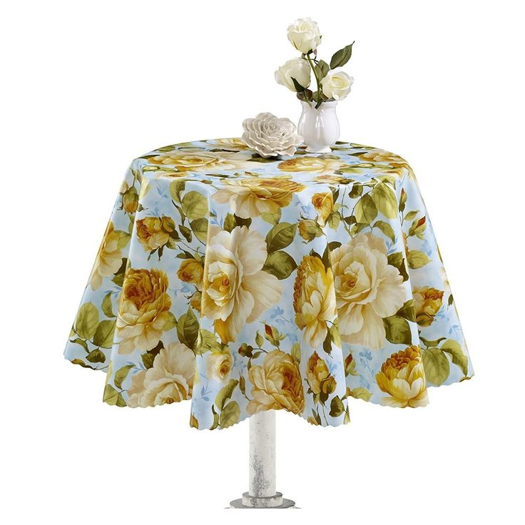 Ottomanson Yellow Rose Design Vinyl Non Woven Backing 55 Inch Round  Indoor/Outdoor